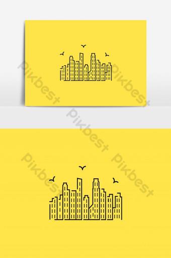 Vector logo de bienes raíces de ciudad inteligente sobre un fondo amarillo Modelo AI