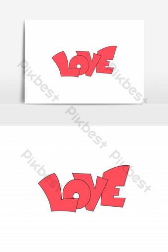 amor texto caligrafía letras plantilla de tarjeta de felicitación del día de san valentín relleno lineal vec Elementos graficos Modelo AI