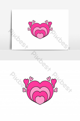 amor icono vector lindo corazón pegatina ilustración lineal relleno estilo icono vector Elementos graficos Modelo AI