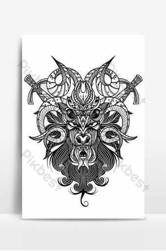 ماعز ، الجمجمة ، إلى داخل ، رسومات الحبر ، تقنية ، سهم التوجيه ، تصوير ، بسبب ، جمجمة الماعز ، ب ، swords خلفيات قالب EPS