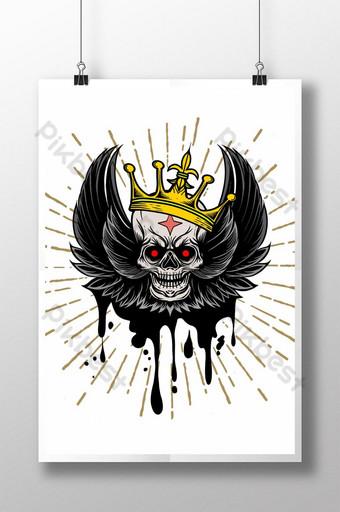 imagen vectorial cráneo con alas y corona fondo vintage tatuaje elemento de diseño vintage Fondos Modelo AI