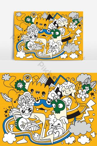 ilustrasi vektor doodle rakasa lucu latar belakang gambar tangan doodle Elemen Grafis Templat EPS