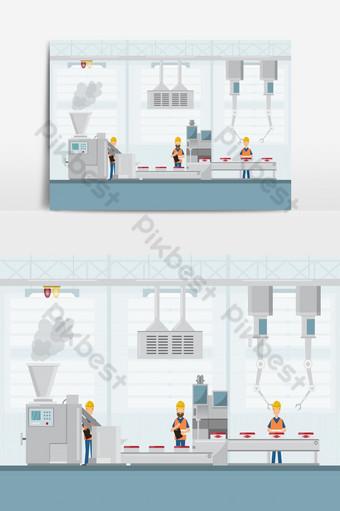 مصنع سمارت صناعي بأسلوب مسطح مع روبوتات عمال وتعبئة خط تجميع صور PNG قالب EPS