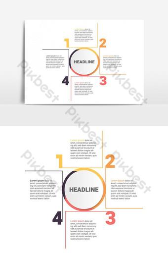 diagram infografis dengan 4 langkah pilihan atau proses template bisnis vektor Elemen Grafis Templat EPS