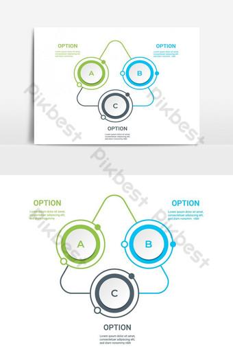 diagram infografis dengan 3 pilihan langkah atau proses template bisnis vektor Elemen Grafis Templat EPS