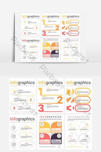 مجموعة من قوالب معلومات الأعمال مع 3 4 خطوات أو خيارات صور PNG قالب EPS