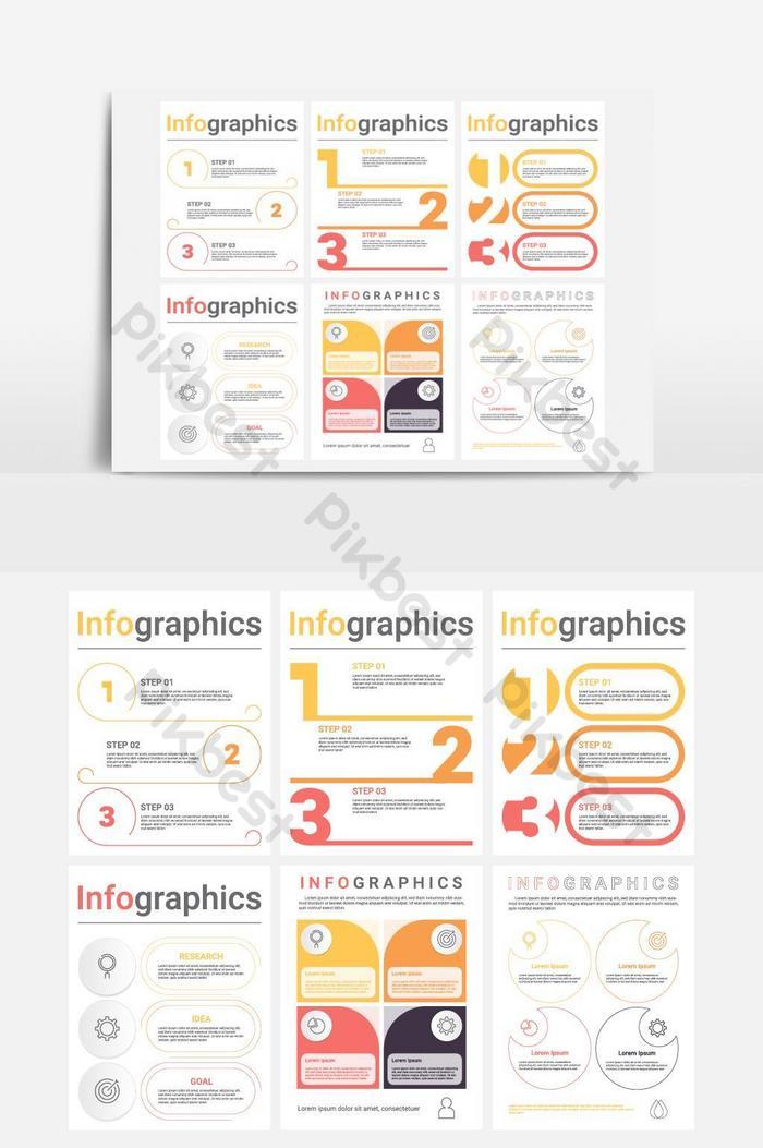 مجموعة من قوالب معلومات الأعمال مع 3 4 خطوات أو خيارات