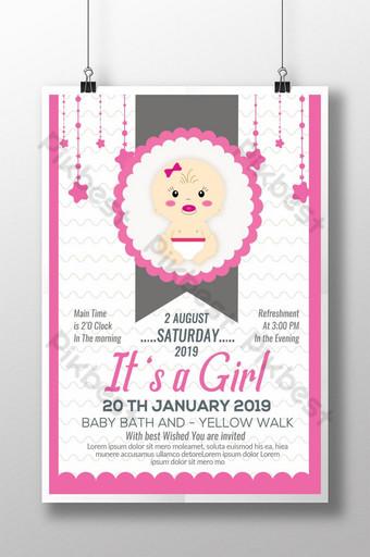 es un cartel de invitación de baby shower de niña Modelo PSD