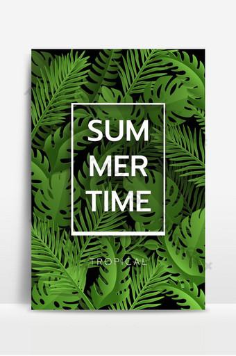 Bonjour Summer banner Palmier tropical laisse fond Invitation ou conception de cartes avec jungle Fond Modèle EPS