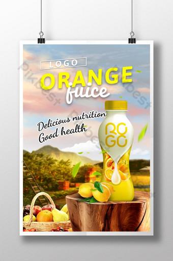 Pumili ang Orchard ng sariwang poster na inumin ng orange juice Template PSD