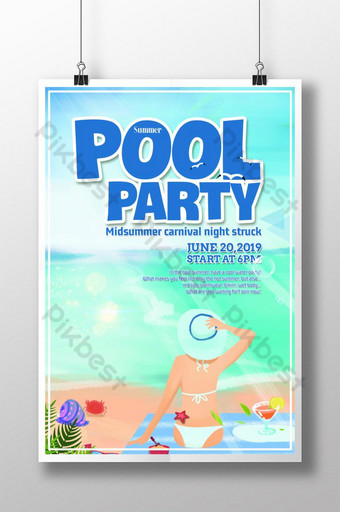 Seaside pool party holiday poster Template PSD