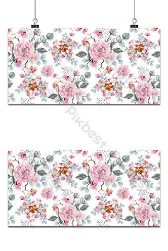 patrón sin costuras rosas y orquídeas flores vintage acuarela ilustración vectorial Fondos Modelo EPS