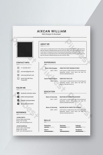 diseño de plantilla de CV simple y limpio Modelo PSD