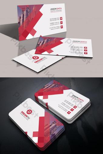 Conception de modèle de carte de visite rouge et blanc Modèle PSD