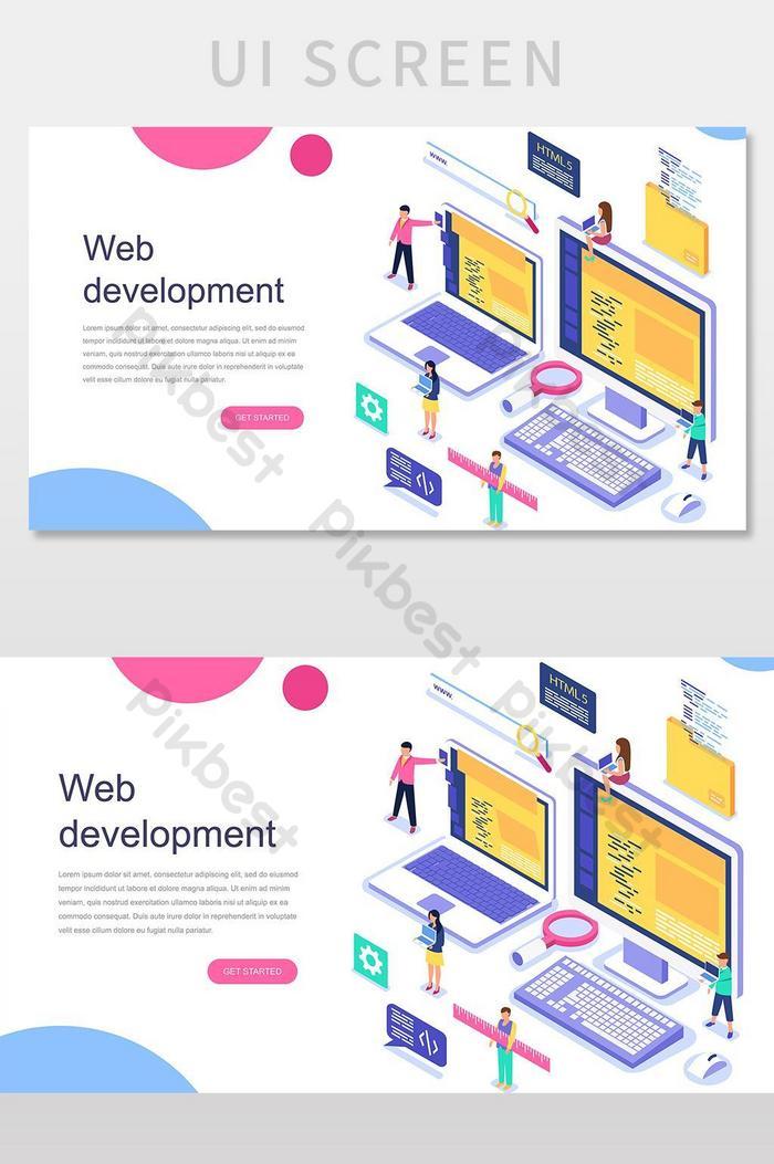 web development vector landingpage illustration
