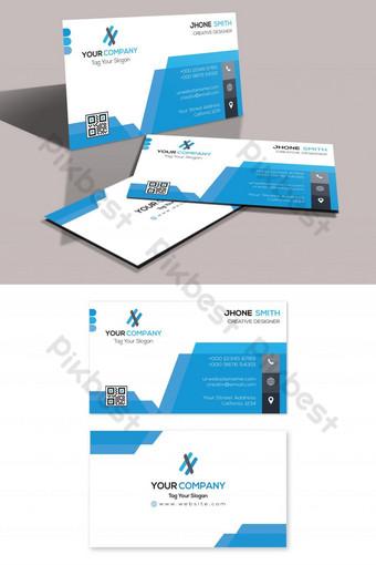 Conception de carte de visite de forme bleue Modèle PSD