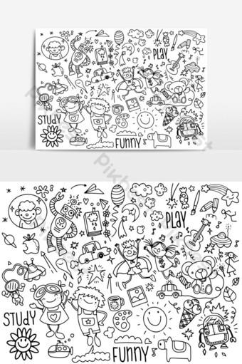 drawing kids doodle set,doodle style,vector illustration PNG Images Template EPS