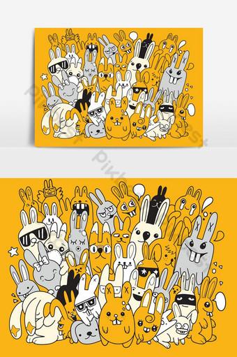سعيد عيد الفصح ناقلات تصميم مع شخصيات أرنب لطيف الإعلان ملصق أو قالب نشرة صور PNG قالب EPS