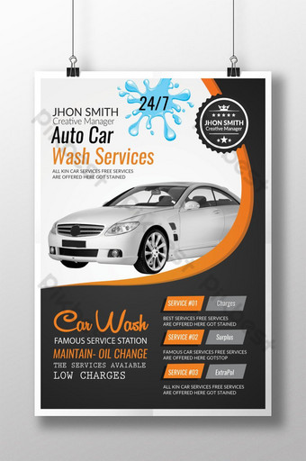 Luxury Car Wash Service Poster Template PSD