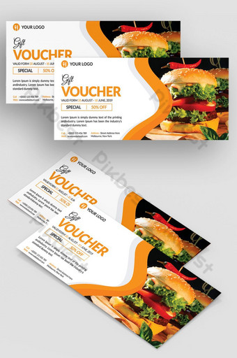 Coupon de chèque-cadeau de restaurant alimentaire Modèle PSD