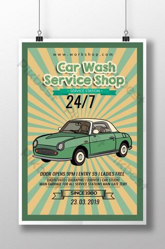 Estación de servicio de lavado de coches retro con cartel de coche Modelo PSD