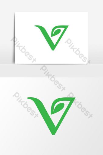 letra v y logo de hoja Elementos graficos Modelo EPS