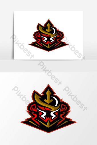 mascota de juego samurai e sport logo Elementos graficos Modelo EPS