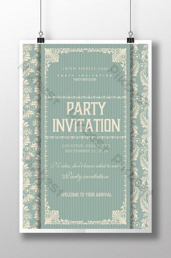 diseño de cartel de invitación de fiesta retro de patrón Modelo PSD