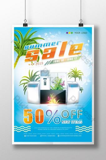 poster promosi diskon peralatan musim panas Templat PSD