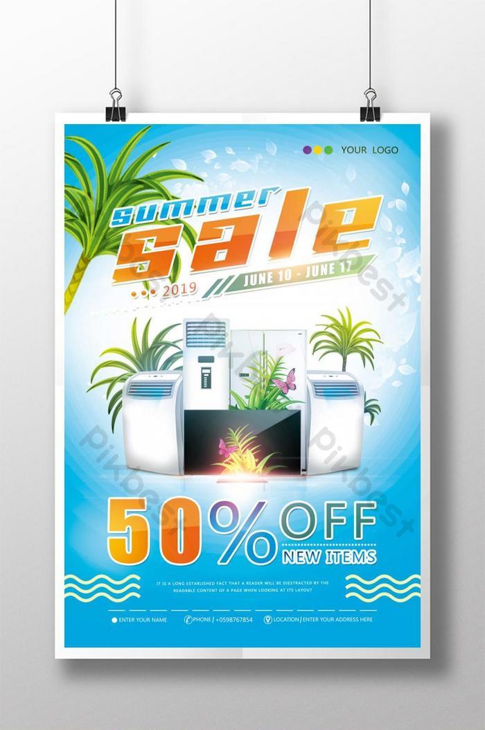 poster khuyến mãi giảm giá thiết bị gia dụng mùa hè