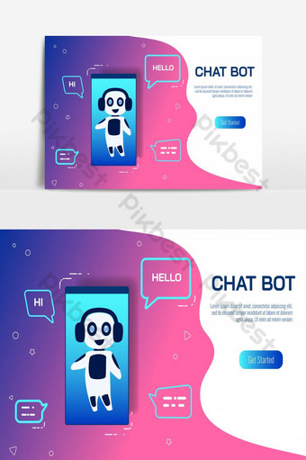 Support smart service with artificial intelligence. Virtual Assistance Of Website PNG Images Template EPS
