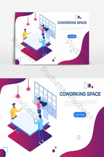 أشخاص في مساحة عمل مشتركة متساوية القياس يناقشون أفكارًا لخطة عمل في مساحة عمل مشتركة صور PNG قالب EPS