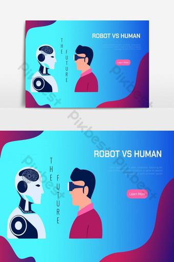 robot vs inteligencia artificial humana ai reemplace la ilustración de vector de concepto humano Elementos graficos Modelo EPS