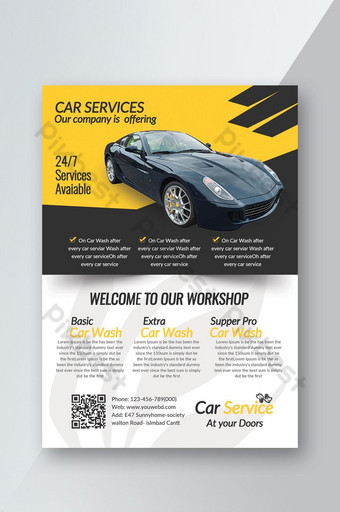 Car Service Station Business Flyer Template PSD