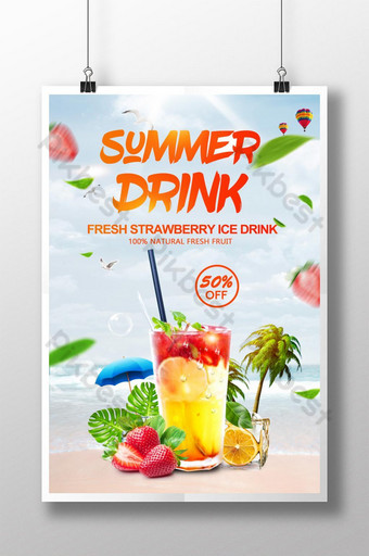 Creative Summer Strawberry Lemon Ice Drink Promotion Poster Template PSD