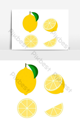 فاكهة الليمون الطازج ناقلات معزولة مجموعة على خلفية بيضاء التوضيح النواقل صور PNG قالب AI