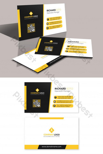 plantilla de tarjeta de visita amarilla negra Modelo PSD