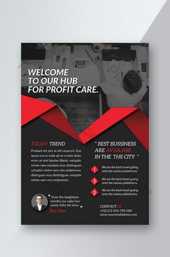 Flyer d'entreprise de bonne idée créative noir et rouge Modèle PSD