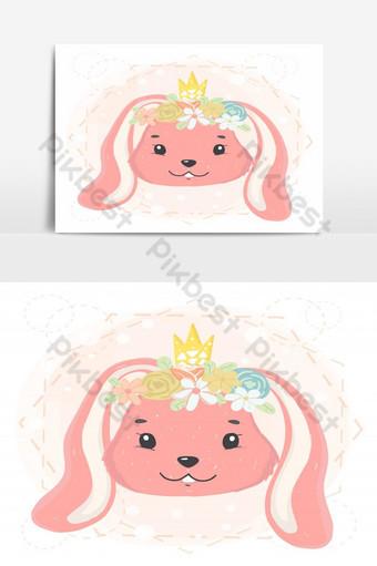 visage de lapin mignon avec couronne de fleurs et couronne au printemps idée de vecteur plat pour carte Éléments graphiques Modèle EPS