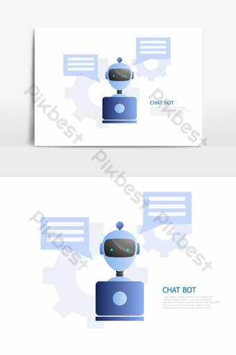 illustration of chat bot concept, robot use laptop to chatting and working PNG Images Template EPS