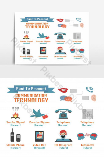 La tecnología de la comunicación del pasado al futuro infográfico aislado sobre fondo blanco. Elementos graficos Modelo EPS