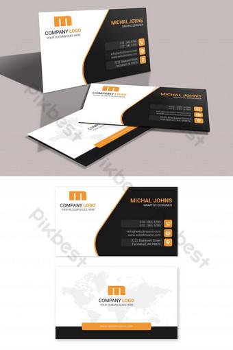Conception de carte de visite moderne avec forme orange noire Modèle PSD
