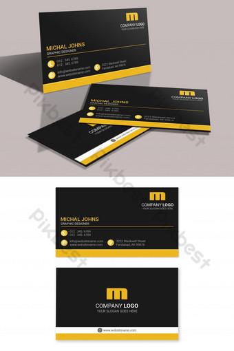 Conception de carte de visite créative en noir jaune Modèle PSD