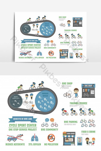 cycle sport center, one stop service project infographic, isolated on white background PNG Images Template EPS