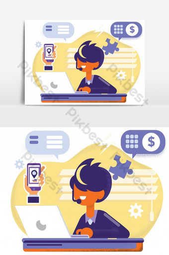 businessman marketer working at the computer in the office, vector flat illustration PNG Images Template AI
