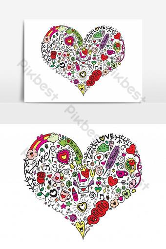 amor incompleto y corazones garabatos ilustración vectorial concepto de San Valentín Elementos graficos Modelo AI