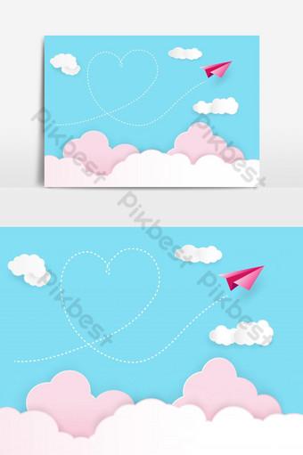 fondo del día de san valentín cohete de papel rojo flotando en el cielo con humo en forma de corazón Elementos graficos Modelo PSD