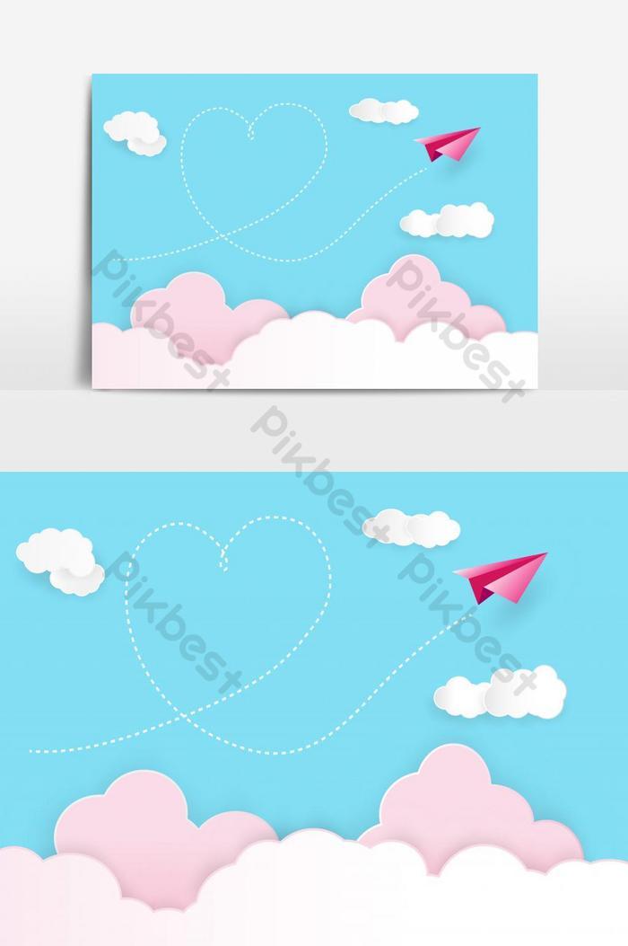 День святого Валентина фон Красная бумажная ракета, плавающая в небе с дымом в форме сердца