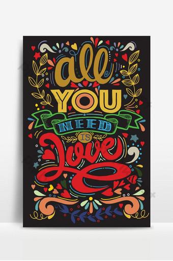 Todo lo que necesitas es amor, estampado vintage dibujado a mano con letras y decoración a mano. Fondos Modelo AI