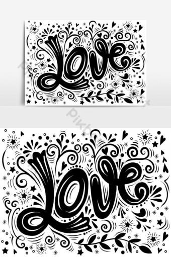 amor dibujado a mano estampado vintage con letras a mano y decoración 1 Elementos graficos Modelo AI